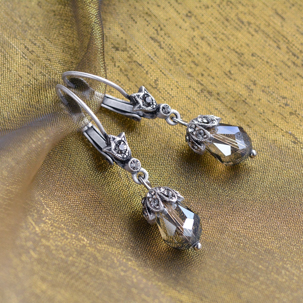 Art Deco Vintage Crystal Teardrop Earrings E988 - sweetromanceonlinejewelry