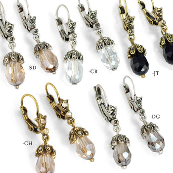 Art Deco Vintage Crystal Teardrop Earrings E988
