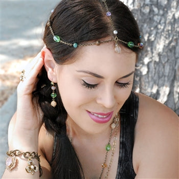 Boho Crystals & Beads Headpiece H112 - sweetromanceonlinejewelry