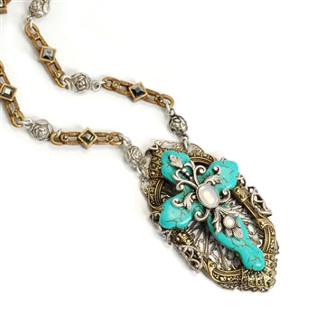 Victorian Turquoise Cross Necklace