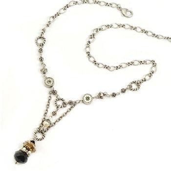 Crystal & Pearls Drop Necklace