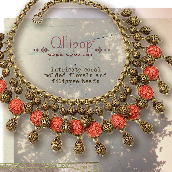 1940s Coral & Filigree Collar Necklace N1042