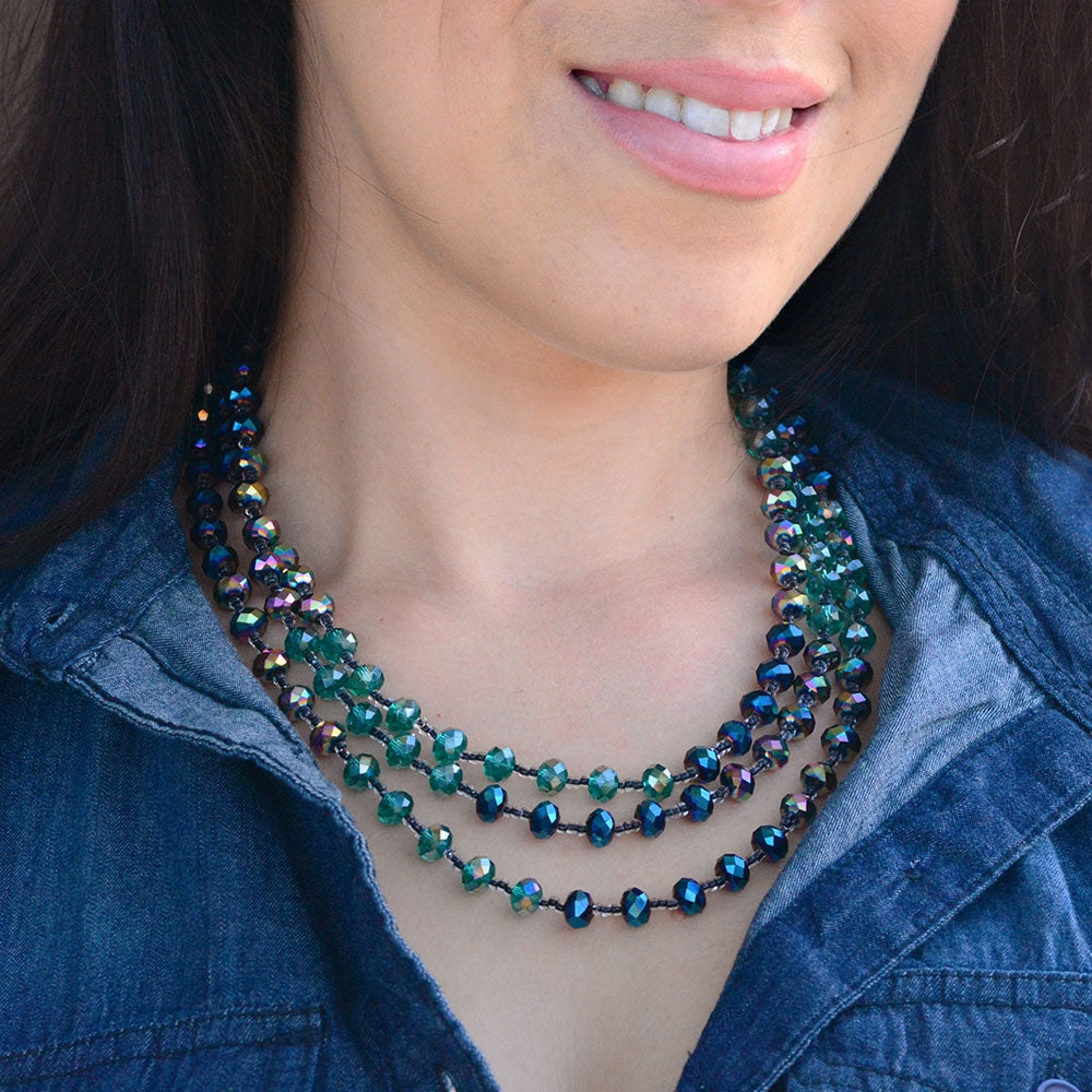 Iridescent Glass Beads Necklace N1046 - sweetromanceonlinejewelry