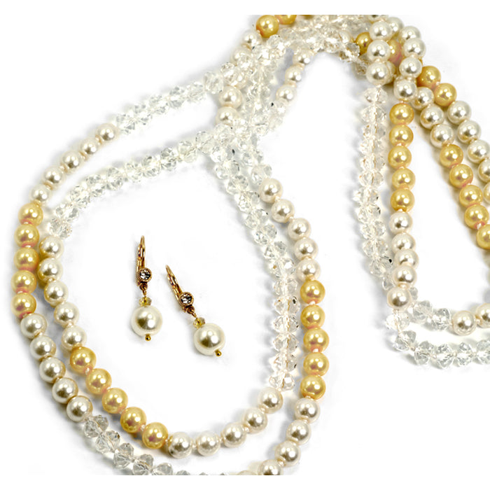 Sunglow Pearl and Crystal Necklace and Earring Set  N1049-SET