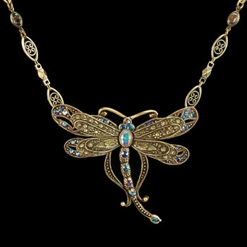 Iridescent Dragonfly Necklace N105 - sweetromanceonlinejewelry