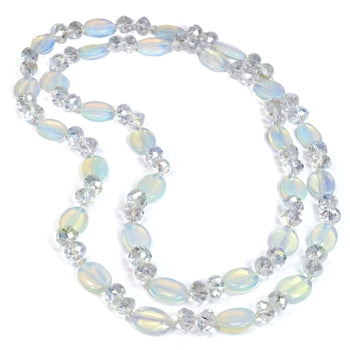 Opal Glass & Crystal Necklace - sweetromanceonlinejewelry