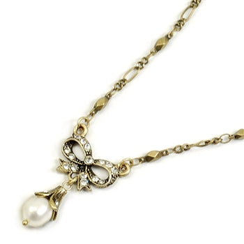 Bow Pearl Wedding Necklace
