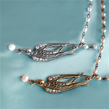 Swallow and Pearls Necklace N1077 - sweetromanceonlinejewelry