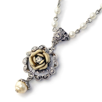 Ivory Tea Rose Necklace - sweetromanceonlinejewelry