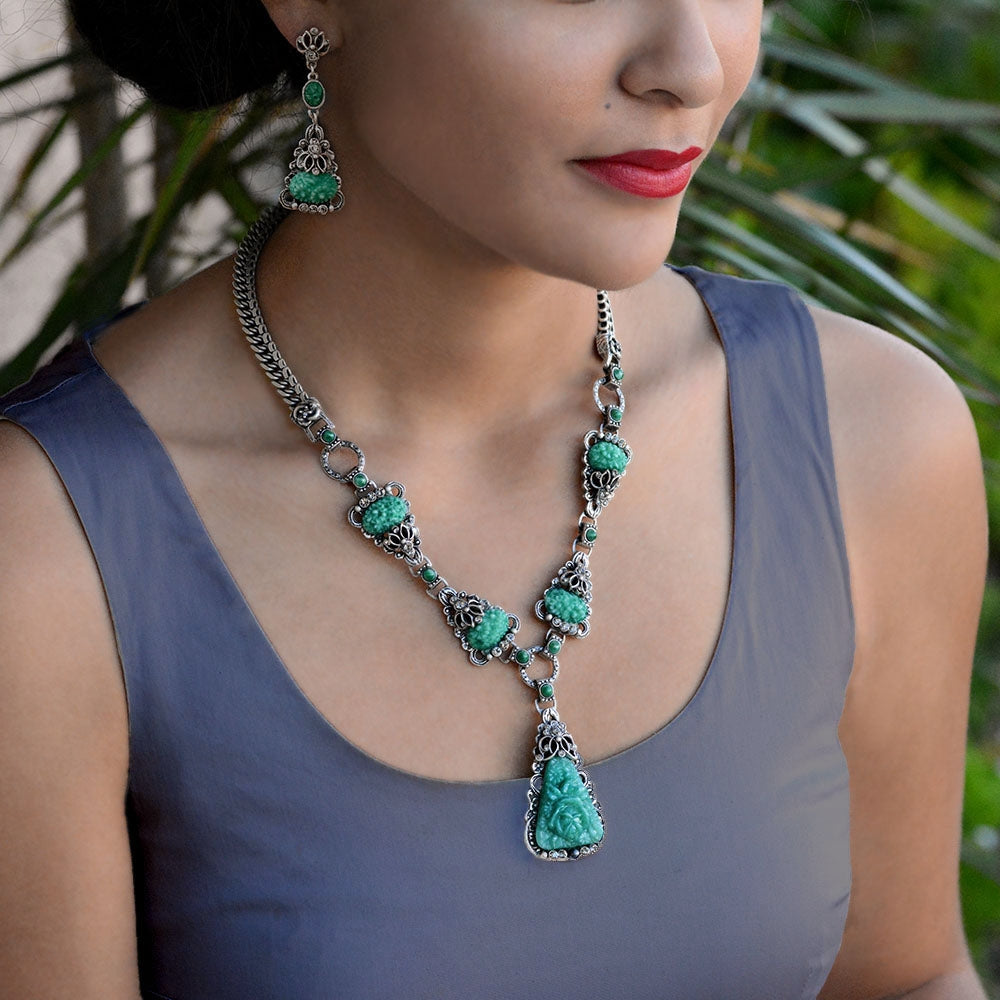 Art Deco Vintage Green Jade Glass Triangle Necklace and Earrings Set