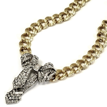 Crystal Bow Necklace N1100 - ONLY 2 LEFT!