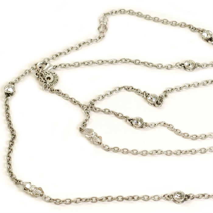 Crystal Sparkle Chain Necklace N1153-SIL