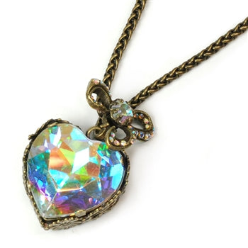 Crystal Heart Pendant Necklace N1161 - sweetromanceonlinejewelry