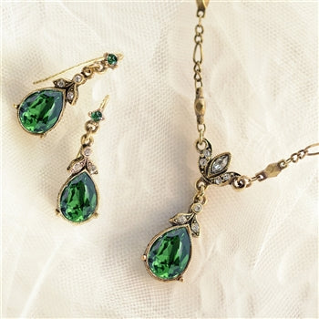 Crystal Pear Teardrop Necklace and Earring Set