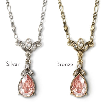 Crystal Pear Teardrop Necklace N1170 - sweetromanceonlinejewelry
