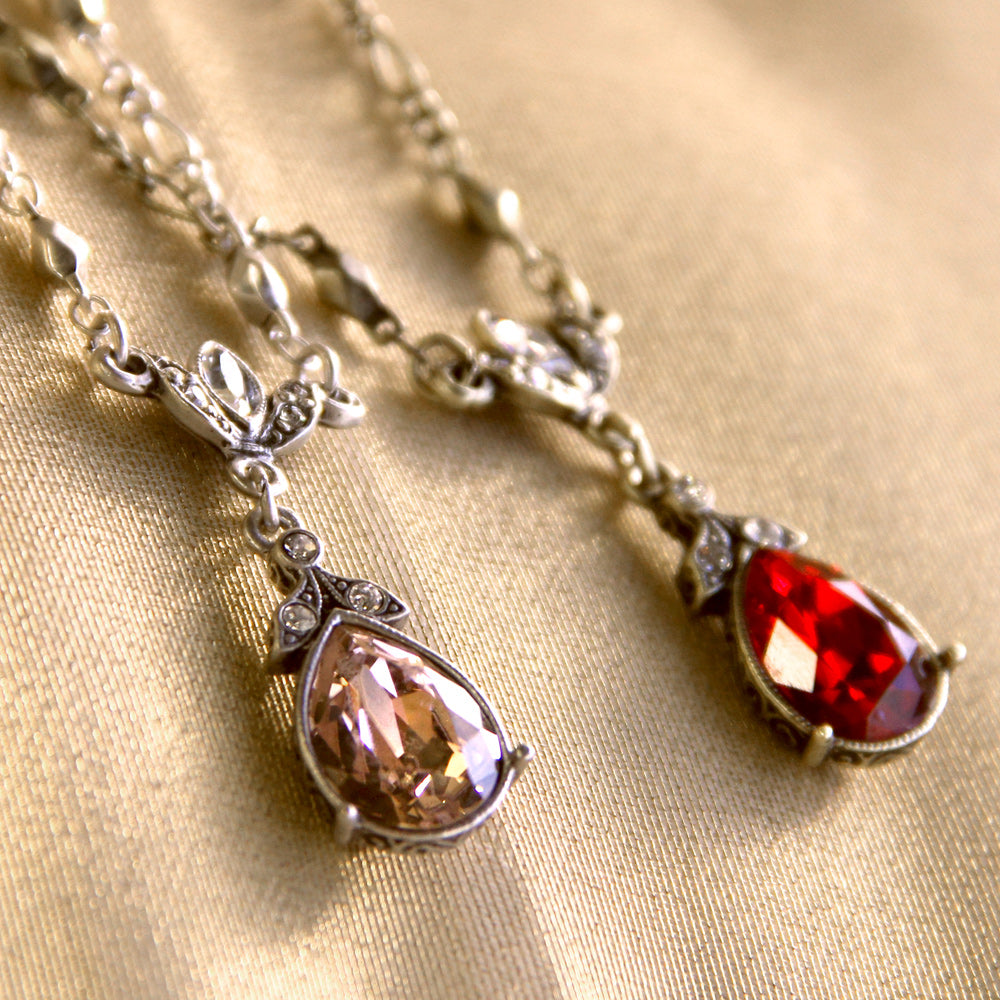 Crystal Pear Vintage Victorian Teardrop Necklace