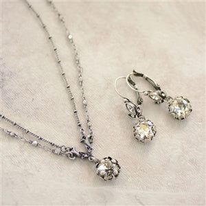 Cushion Cut Jewel Necklace and Earrings SET