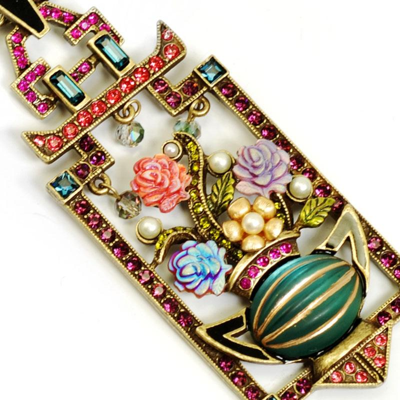 Art Deco Chinese Rose Screen Vintage Necklace N1199 - sweetromanceonlinejewelry