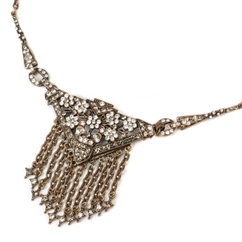 Art Deco Triangle Fringe Gatsby Necklace N1204 - sweetromanceonlinejewelry