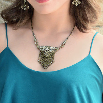 Art Deco Triangle Fringe Gatsby Necklace N1204