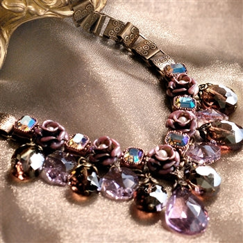 Crystal Rose Collar Necklace N1212 - sweetromanceonlinejewelry