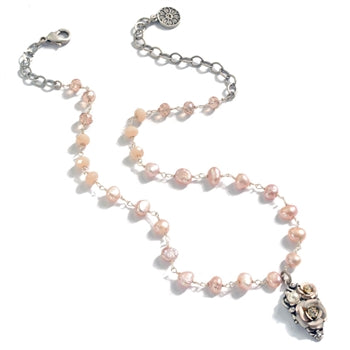 Baroque Pearl and Flower Necklace