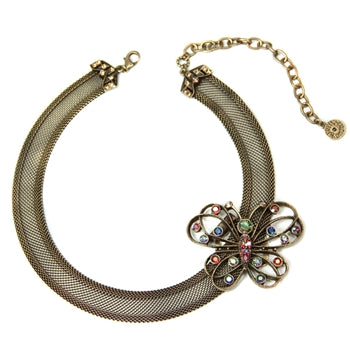 Mesh Collar Necklace with Butterfly Clip