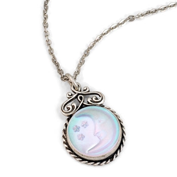 Iridescent Moon Pendant Necklace N1235