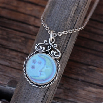 Iridescent Moon Pendant Necklace N1235 - sweetromanceonlinejewelry