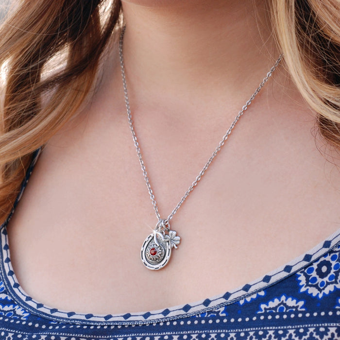 Lucky Horseshoe Birthstone Necklace N1238