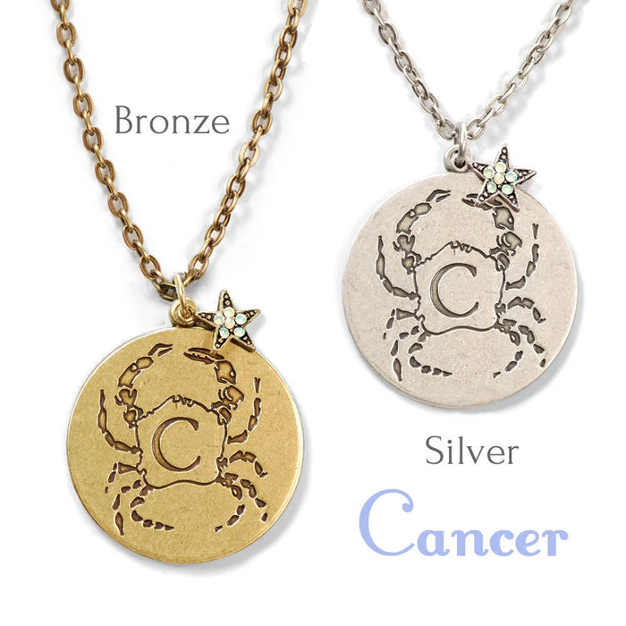 Retro Zodiac Coin Pendant Necklaces N1245-BZ-CN