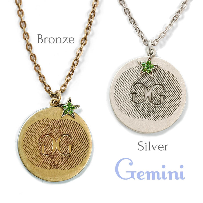 Retro Zodiac Coin Pendant Necklaces N1245-BZ-GM