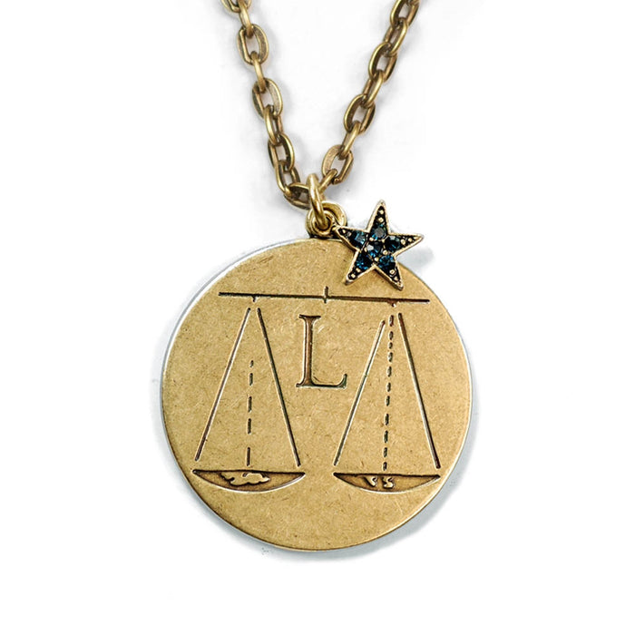Retro Zodiac Coin Pendant Necklaces N1245-BZ-LB