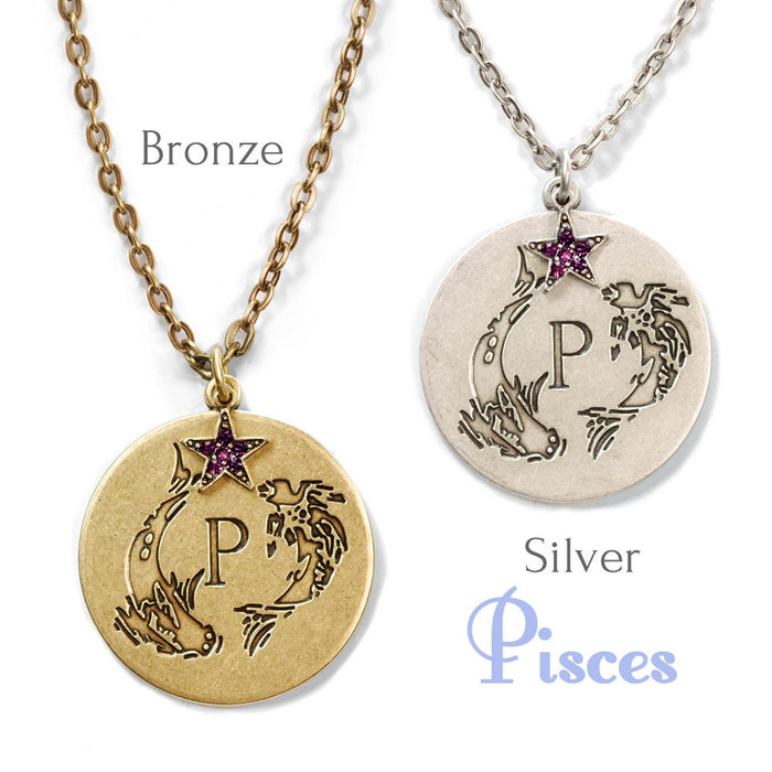 Retro Zodiac Coin Pendant Necklaces N1245-BZ-PC