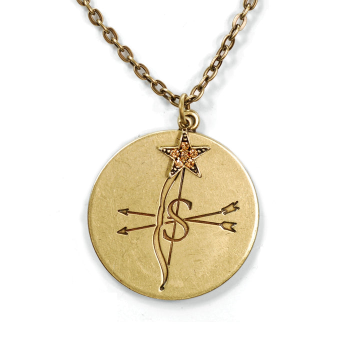 Retro Zodiac Coin Pendant Necklaces N1245-BZ-SA