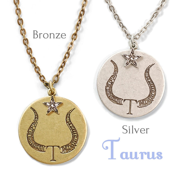 Taurus Zodiac Coin Pendant Necklace