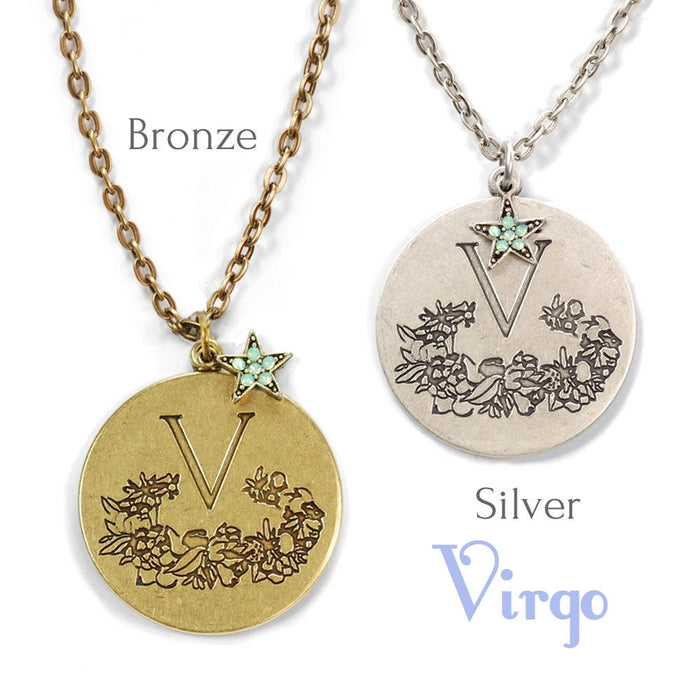 Retro Zodiac Coin Pendant Necklaces N1245-BZ-VR