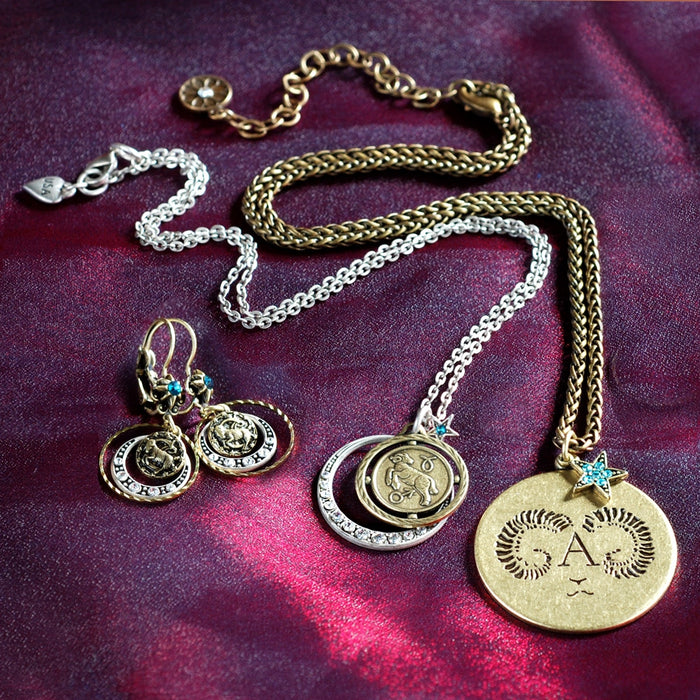 Retro Zodiac Aries Coin Pendant Necklace