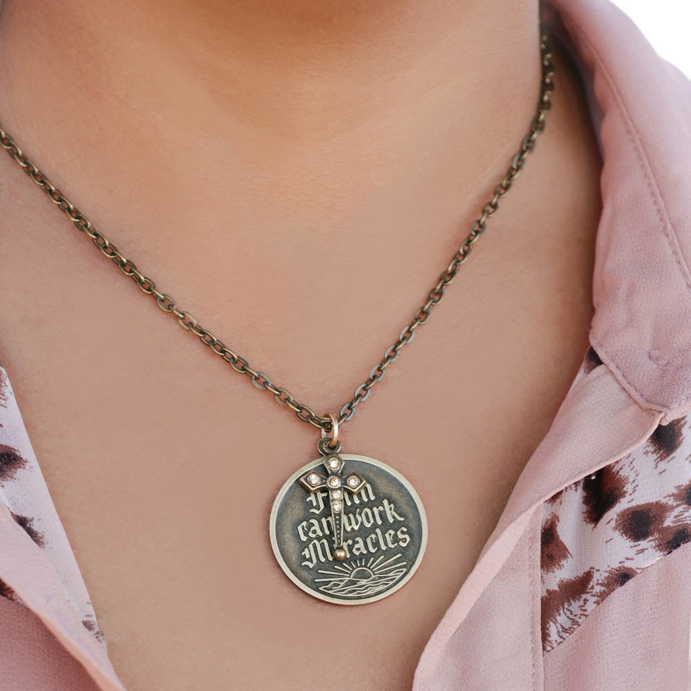 Faith Can Work Miracles Pendant Necklace N1252 - sweetromanceonlinejewelry