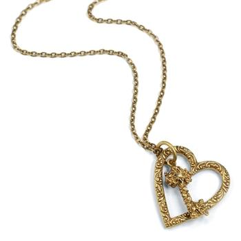 Floating Heart & Key Necklace N1253 - sweetromanceonlinejewelry