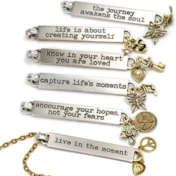 Inspirational Message Bar Necklaces N1254-65 - sweetromanceonlinejewelry
