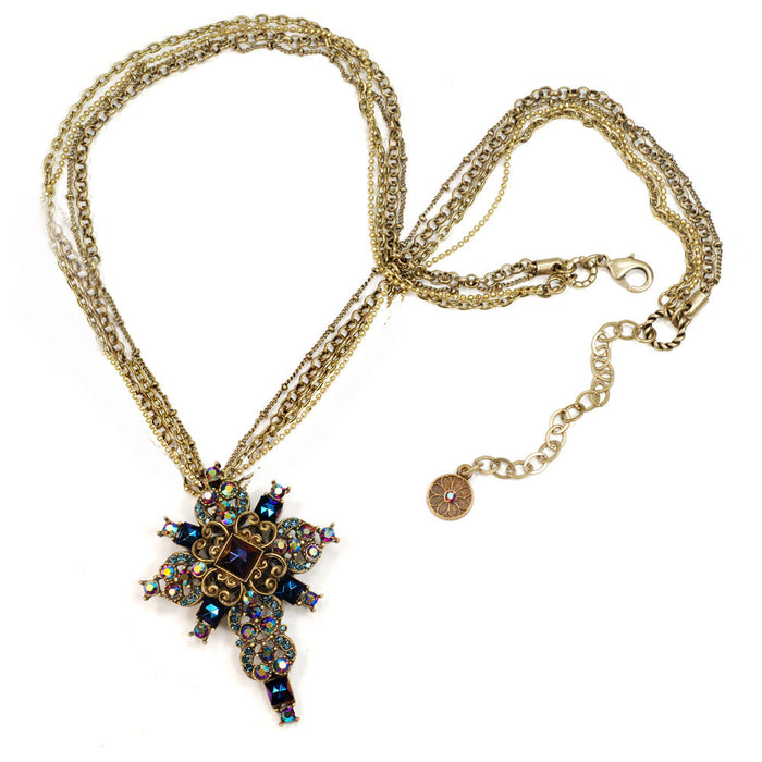 Peacock Midnight Cross Necklace N1284