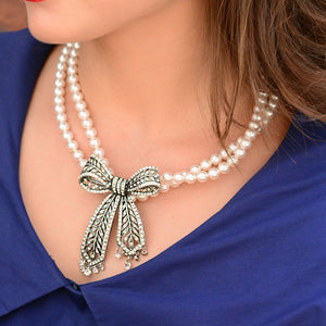 Crystal Bow Pearl Necklace
