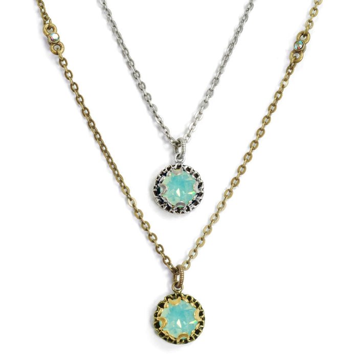 Crystal Dot Necklace N1297-BZ-PO