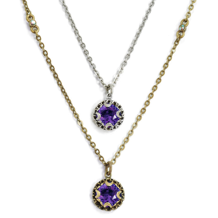 Crystal Dot Necklace N1297-BZ-PV