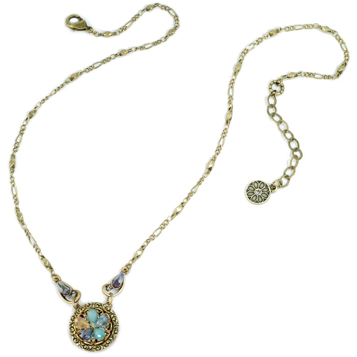 Rosarita Ocean Flower Crystal Pendant Necklace N1301