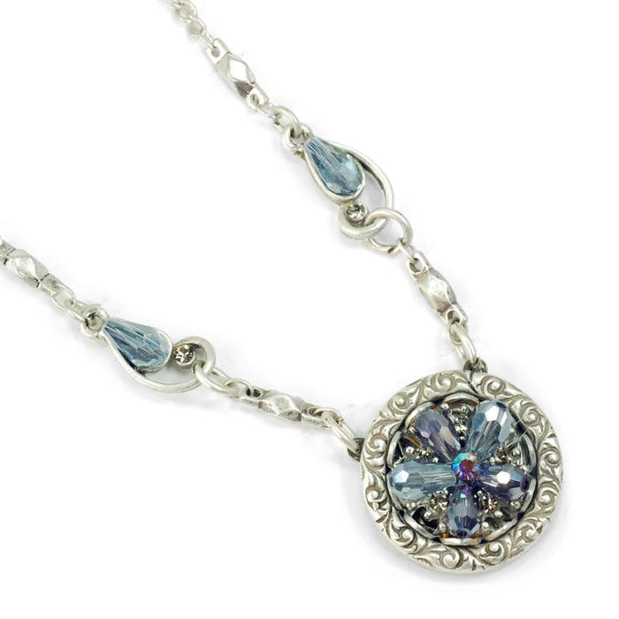 Rosarita Ocean Flower Crystal Pendant Necklace N1301-SIL