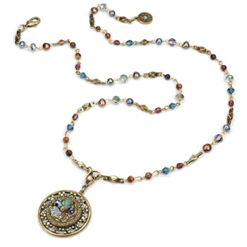 Ocean Medallion Flower Necklace N1302-MU