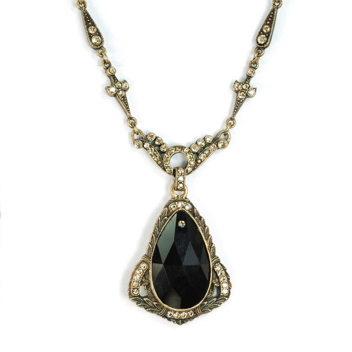Art Deco Prism Teardrop Wedding Necklace
