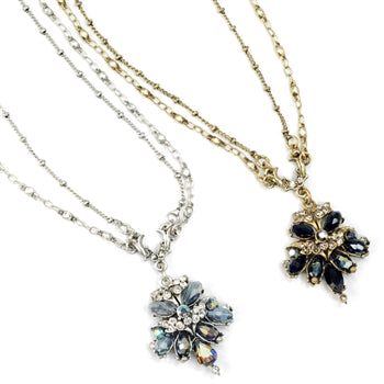 Crystal Cluster Fan Necklace N1311